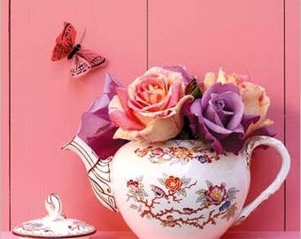 DECORATIVE wall poster pink TEAPOT Butterfly 30 cm x 30 cm