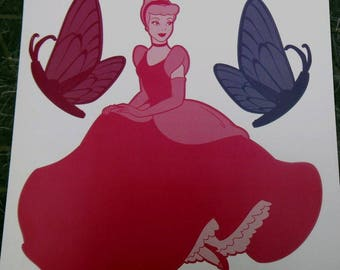 Slate wall decal girl Cinderella 28 cm x 27 cm