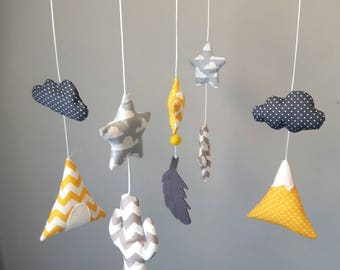 Baby mobile teepee, cactus, clouds, yellow and grey stars