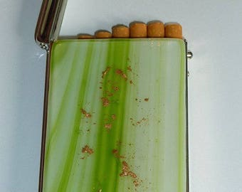 "Fused glass ""Alaska"" cigarette case"