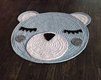 Handmade carpet, crocheted rug, Bärchiteppich, Teddy carpet, carpet, for kids