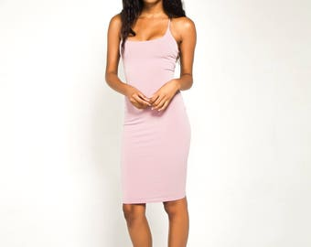 Mauve Back Strap Bodycon Dress