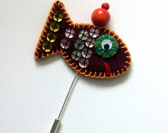 fish Hat: fish embroidered felt brooch