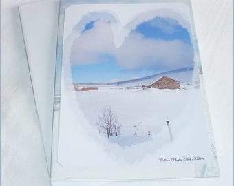 "Handmade from pictures ""Love of snow"" double card 10 5x15cm"