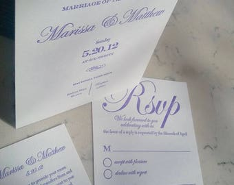 Letterpress Wedding Invitation, lilac wedding invitation, Calligraphy, letterpress, wedding suite, deposit listing