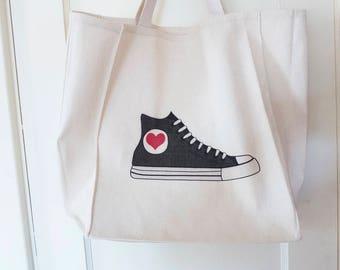 Hi Top Sneaker Tote Bag, Cotton Book Bag, Cute Tote Bags, Back Converse Bride Wedding Tote