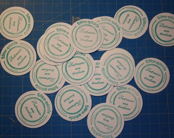 """Labels round autocolants """"Handmade with love"""""""