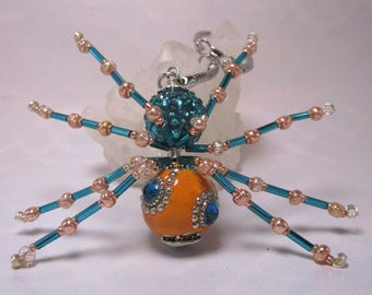 beaded spider - blue and orange
