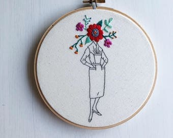 "Modern Embroidery Hoop ""Flower Face Girl: Retro"" Hand Stiched // Floral ~ Home Decor ~ Wall Art ~ Tumblr ~ Girl ~ Dark & Delightful ~ Sket"