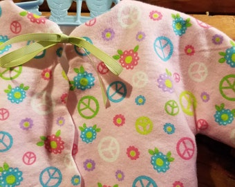 Infant - Sacque - Kimono - Newborn Size - 100% Cotton - Peace Signs - Pink - Flannel - Ready to Ship