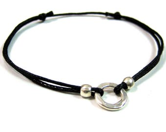 Bracelet leather cord and silver N1365