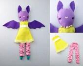 sewing pattern bat, bat doll, cute pattern, doll pattern, bat plush pdf, bat decor, bat digital, baby bat sewing, bat toy, bat plush pattern