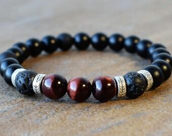 Men's Beaded Bracelets, Men's Bracelet, Men's Energy Bracelet, Black Onyx Bracelets, Lava Bracelet, Red Tiger Eye  Bracelet, Gift For Men