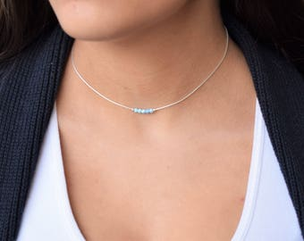 Opal Silver Necklace, Opal Necklace,Opal Choker Necklace, Blue Opal Necklace, Sterling Silver Necklace, Opal Dainty Necklace,Opal jewelry