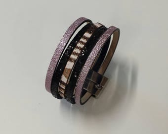 Pink, black and shades of Brown Cuff Bracelet