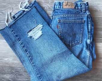 Vintage High Waisted Cropped/Distressed Levi's