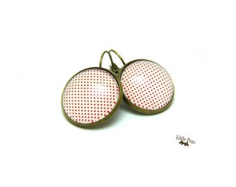 Small polka dot glass dome earrings red retro vintage