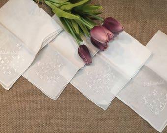 4 Vintage Bridal Handkerchiefs, 1 Maid of Honor, 3 Bridesmaids