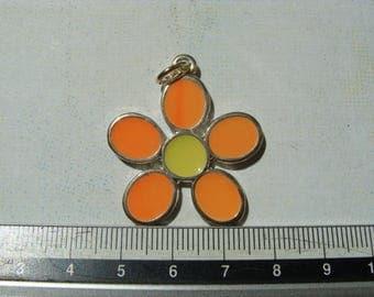 1 metal and enamel orange/yellow 30mm flower charm