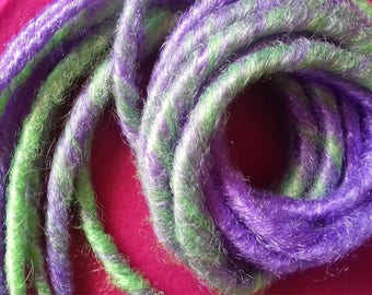 Set of 9 dreads synth green/purple