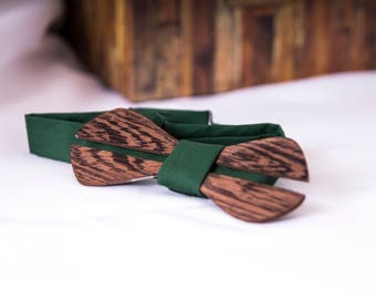 Custom Green Wooden Bow Tie