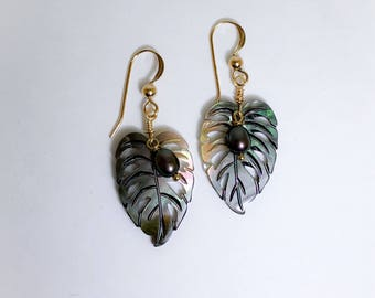 Kalo-Leaf Mother of Pearl Earrings with Small Pearls.