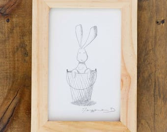 Drawing with frame - child room Decoration - illustration 13x18cm