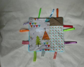 Flat square plush with tags - pee patterns / Indian - customizable
