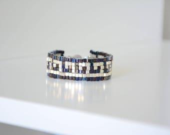 Persephone Collection Greekantika woven square beaded bracelet
