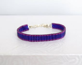 Bracelet woven with Miyuki Delica purple and raspberry