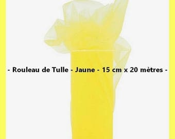 Tulle - Color yellow - 15 cm wide x 20 meters - new