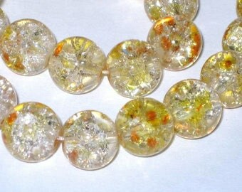 Set of 10 yellow 10mm Crackle glass beads