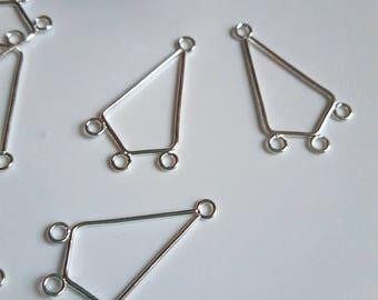 Set of 2 geometric shaped silver-plated earrings