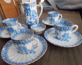 China Porcelain set, Porcelain set , Tea cups, Blue-white set of china cups of coffee, Vintage set of coffee