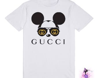Mickey Mouse with Gucci Aviator Sunglasses Adult Size T-Shirt | Designer Inspired | Custom Shirt