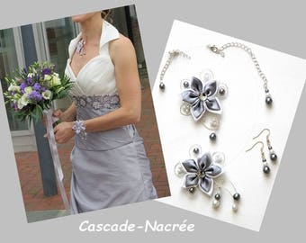 Bridal flower JULINE gray silver white Pearl bridal set