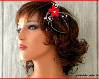 Suzie red white flower wedding bridal fascinator hair stick