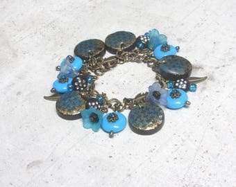 """""""Turquoise and bronze"""" bracelet with Little Valentine"""