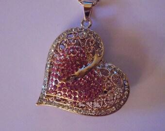Necklace Heart Rhinestone rose gold