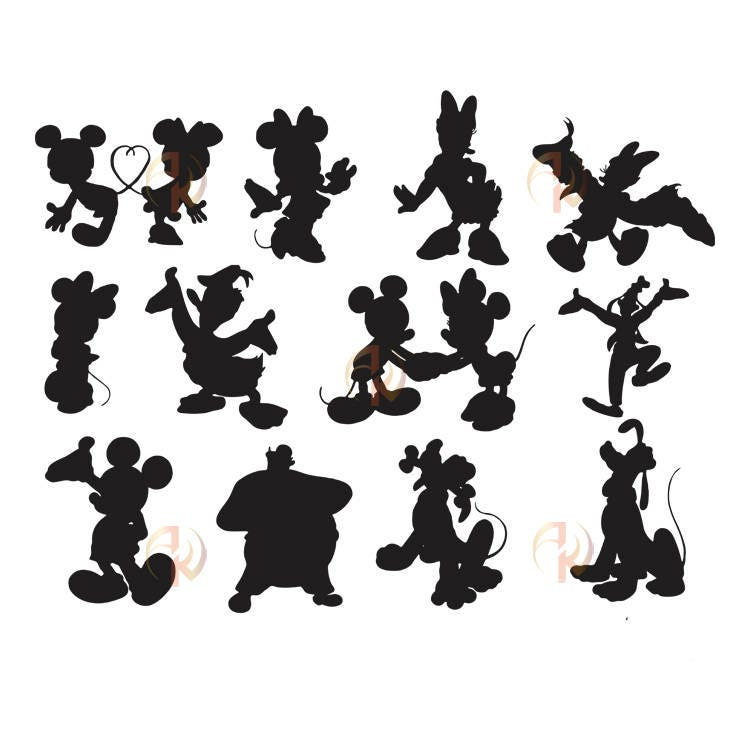 It is a photo of Irresistible Disney Character Silhouettes