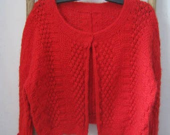 Woman in red mohair Bolero