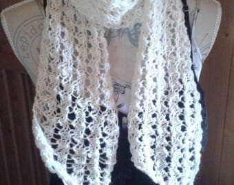 Openwork scarf lightweight pure new wool 100% French stemming from my herd of sheep