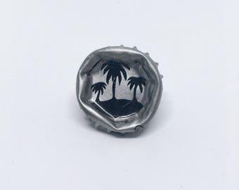 Palmtree Summer Silver Bottle Cap Pin Vintage Style