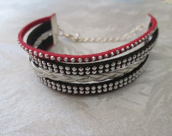 Infinity bracelet multi strand leather, black and red and silver suede cord