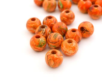 10 beads round 10mm orange plexiglass