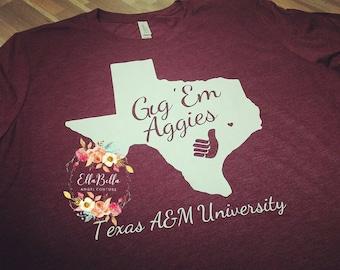 Texas A&M, Aggies, Maroon, College, University tshirt, Gig'em, Whoop!