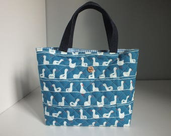 Mini handbag with quilted fabric blue duck pattern