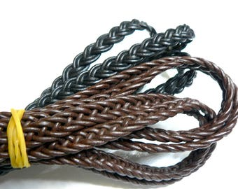 Flat leather braid 2 by 2, 1st quality - 10x4mm - black - 20 cm