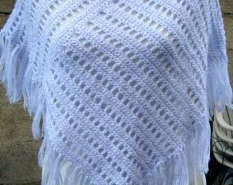 Purple knit poncho