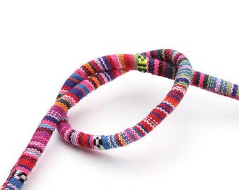 Round pink and multicolored ethnic cord 6 mm
